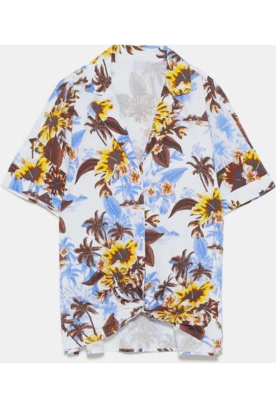 Coten Concept Çiçek Desenli Düğümlü Gömlek