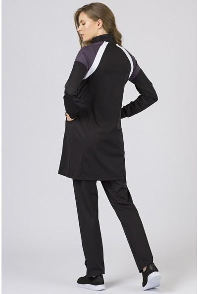 Tommy Life Omuz Garnili Micro Dalgıç Siyah Eşofman Kadın Tunik Takım