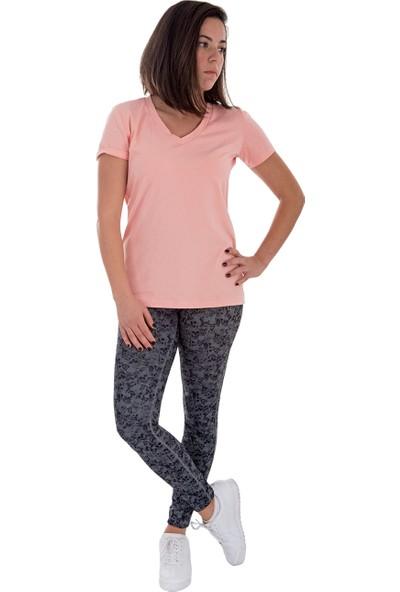 Lfm Yavruağzı Pamuklu V Yaka T-Shirt
