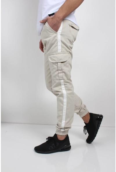Oksit Beli ve Paçası Lastikli 2222 Şeritli Erkek Kargo Pantolon
