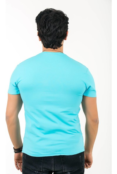 Ftx Pis Yaka Slim Fit Likrali T-Shirt