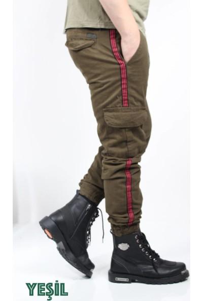Oksit Beli ve Paçası Lastikli Likrali Keten Şeritli Kargo Pantolon 5Renk