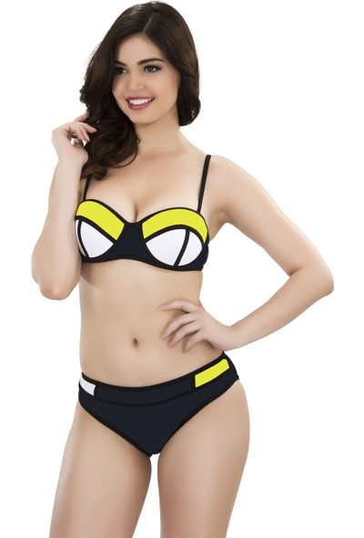 Argisa Renkli Parçalı Bikini 5001 - Siyah