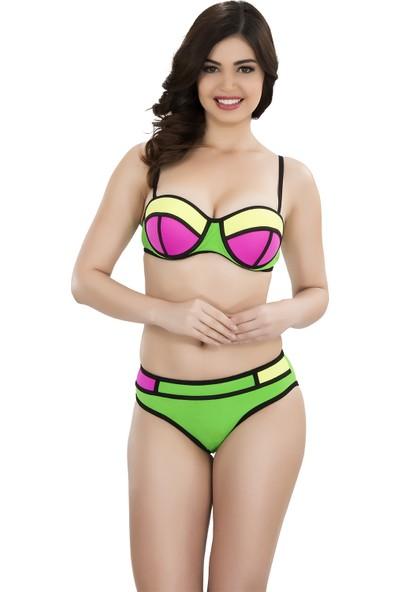 Argisa Renkli Parçalı Bikini 5001 - Yeşil