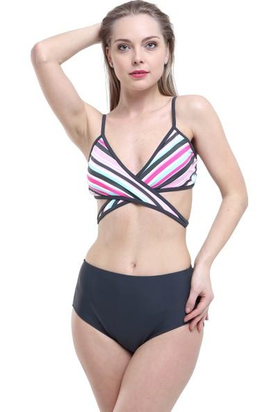 Argisa Yüksek Bel Çapraz Bağlamalı Bikini 5007 - Desenli/Antrasit