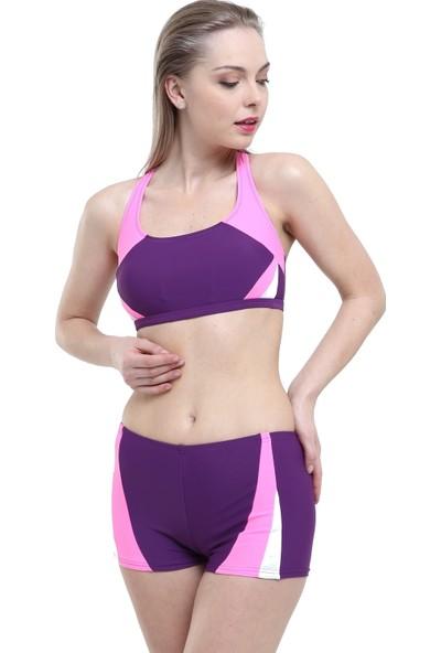Argisa Yeni Parçalı Badili Şortlu Bikini 5043 - Mor