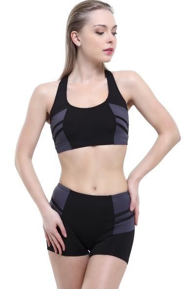 Argisa Modelli Şeritli Badili Şortlu Bikini 5522 - Siyah