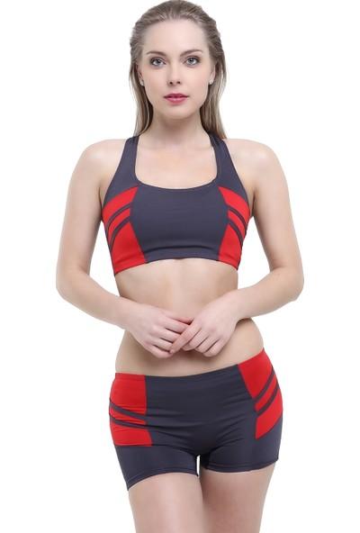 Argisa Modelli Şeritli Badili Şortlu Bikini 5522 - Antrasit
