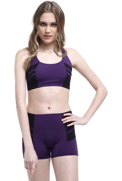 Argisa Modelli Şeritli Badili Şortlu Bikini 5522 - Mor