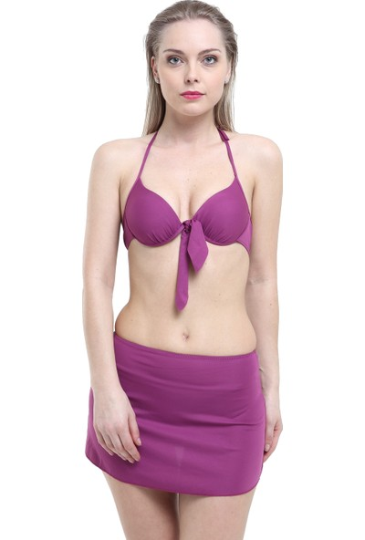 Argisa Düz Fiyonklu Etekli Bikini 5802 - Mor