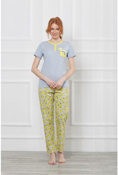 Obje Kısa Kollu Pijama
