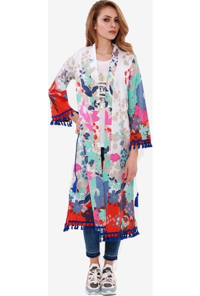 İna Dress Kadın Çiçekli Divitin Pazenden Kışlık Uzun Yelek