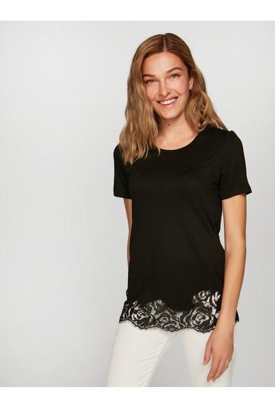 Faik Sönmez Kadın Dantelli T-Shirt 38769