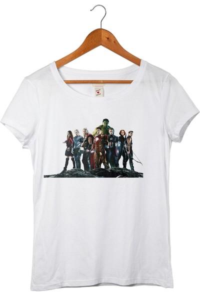 Muggkuppa The Avengers Kadın Beyaz T-Shirt