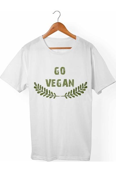 Muggkuppa Vegan-Go Vegan Unisex-Kadın Beyaz T-Shirt
