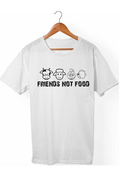 Muggkuppa Vegan-Friend Not Food Unisex-Kadın Beyaz T-Shirt