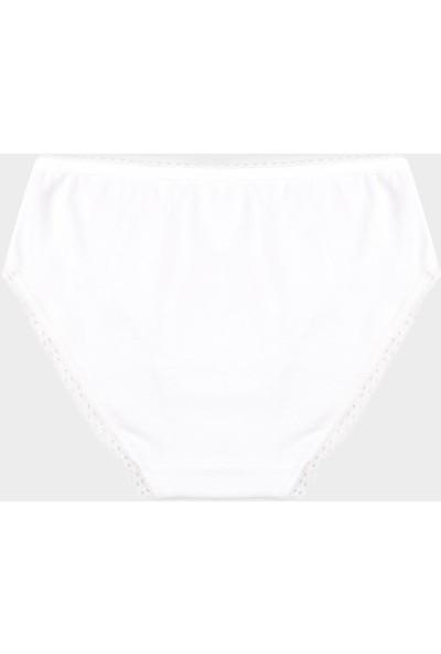 Bross Beyaz 1107 2'Li Paket Lycralı Dantelli Çocuk Slip