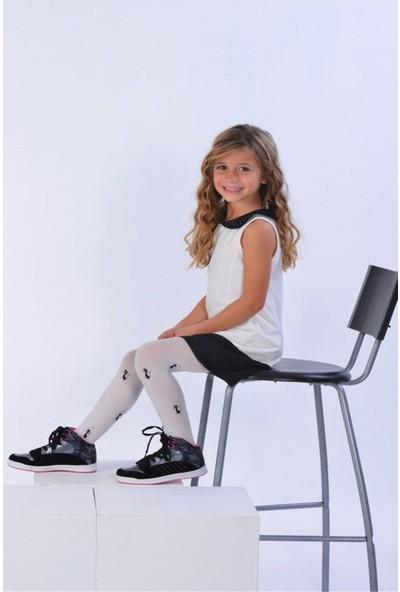 Bross Ekru Kedi Desenli Çocuk İnce Külotlu Çorap