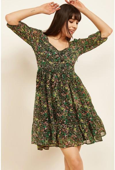 Lafaba Kadın Yeşil Şifon Elbise