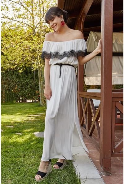 Lafaba Kadın Beyaz Garni Dantelli Krinkıl Uzun Elbise