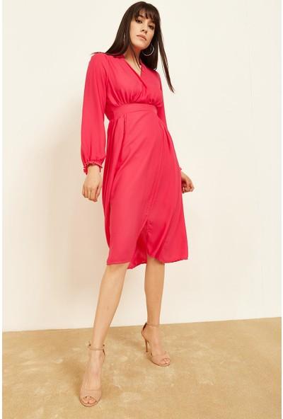 Lafaba Kadın Fuşya Kruvaze Büzgülü Elbise