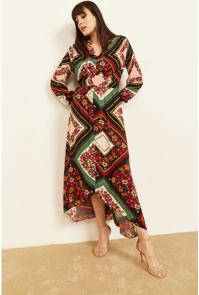 Lafaba Kadın Siyah Yakalı Desenli Elbise