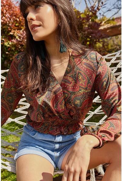 Lafaba Kadın Kiremit Şal Desen Kruvaze Bluz