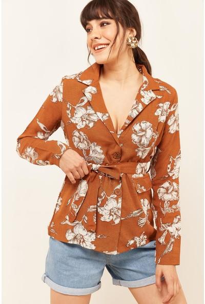 Lafaba Kadın Taba Desenli Keten Ceket