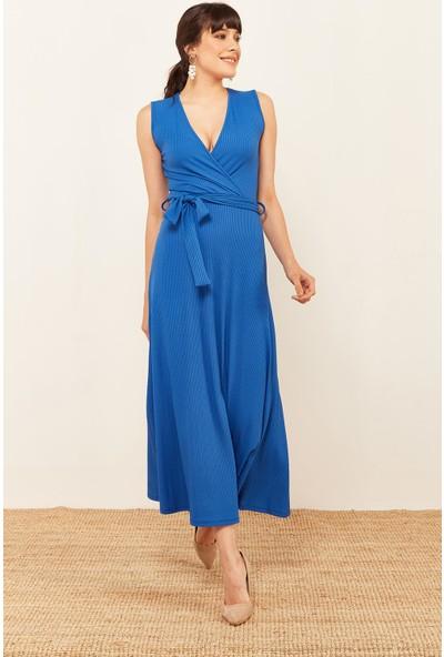 Lafaba Kadın Saks Kruvaze Kaşkorse Elbise
