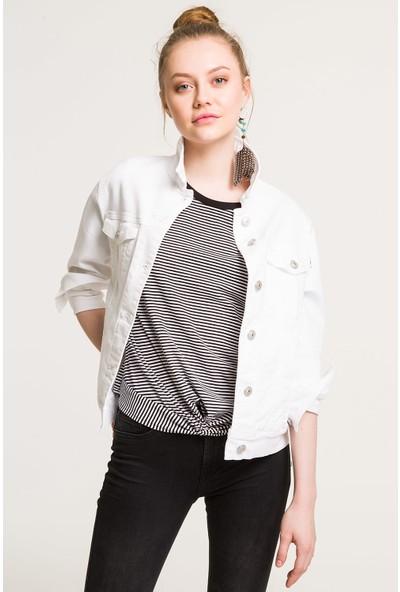 LTB Mona White Daisy Undamaged Wash Kadın Jeans Ceket