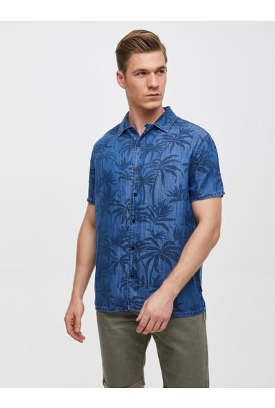 LTB Lary Navy Palm Wash Erkek Jeans Gömlek