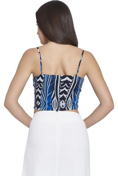 MOUSSELINN Kadın Mavi Zebra Desenli Askılı Önden Bağlamalı Bluz