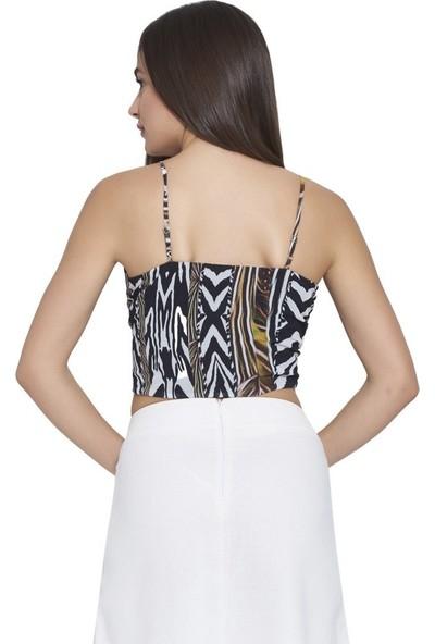 MOUSSELINN Kadın Hardal Zebra Desenli Askılı Önden Bağlamalı Bluz