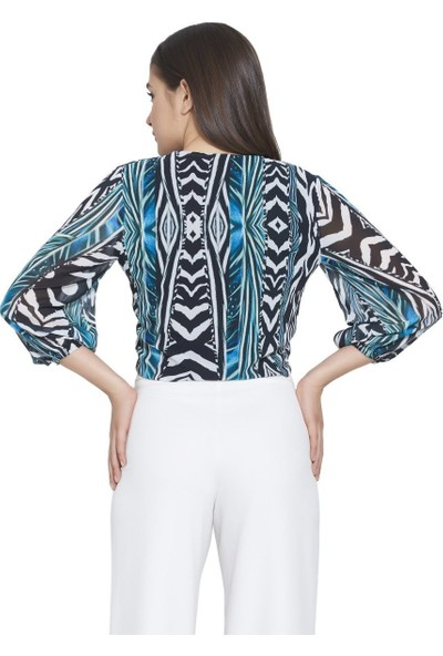 MOUSSELINN Kadın Yeşil Zebra Desenli Önden Bağlamalı Bluz