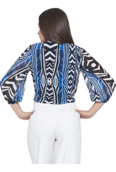 MOUSSELINN Kadın Mavi Zebra Desenli Önden Bağlamalı Bluz