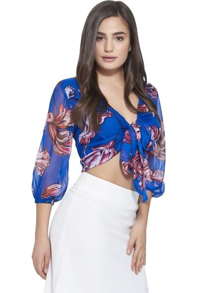 MOUSSELINN Kadın Saks Mavi Çiçek Desenli Önden Bağlamalı Bluz