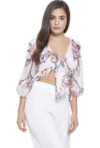 MOUSSELINN Kadın Beyaz Çiçek Desenli Önden Bağlamalı Bluz