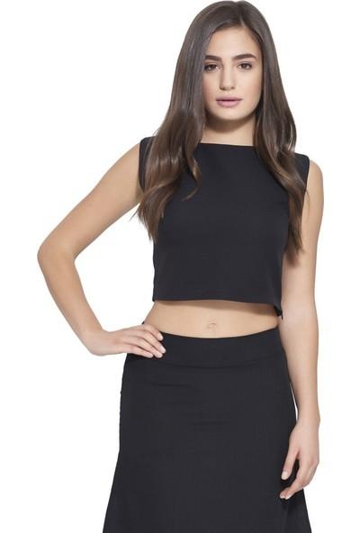 MOUSSELINN Kadın Siyah Basic Bluz