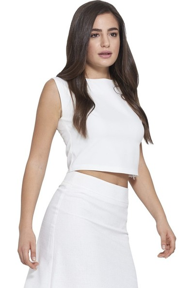 MOUSSELINN Kadın Beyaz Basic Bluz