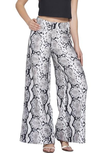 MOUSSELINN Kadın Vizon Yılan Desenli Bol Pantolon