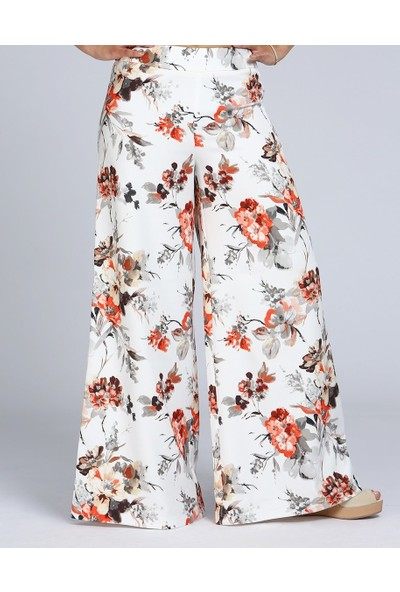 MOUSSELINN Kadın Çiçek Desenli Kırık Beyaz Bol Pantolon