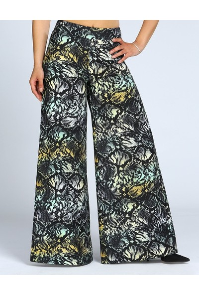 MOUSSELINN Kadın Desenli Siyah Bol Keten Pantolon
