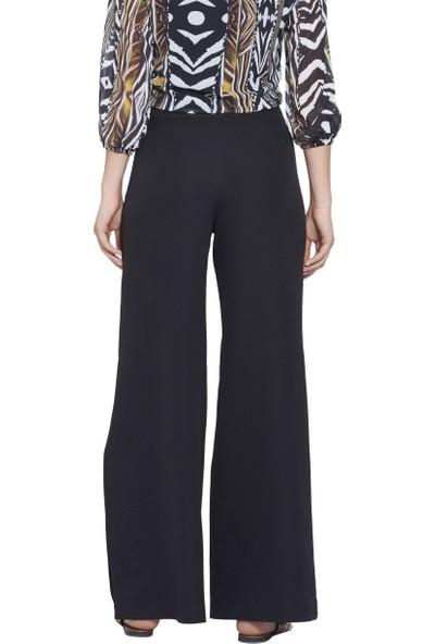 MOUSSELINN Kadın Siyah Ultra Yüksek Belli Yandan Yırtmaçlı Pantolon