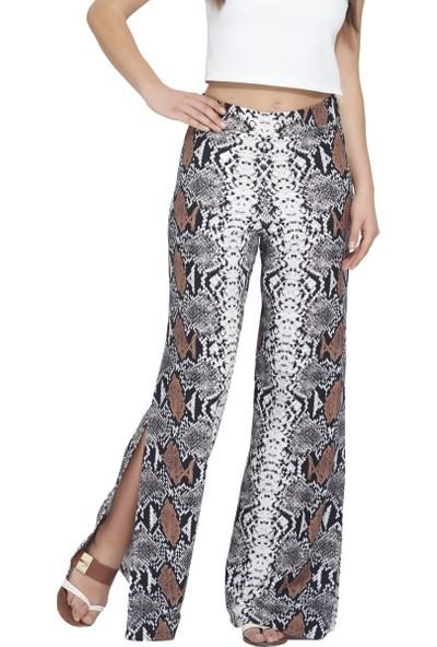 MOUSSELINN Kadın Yılan Desenli Ultra Yüksek Belli Yandan Yırtmaçlı Pantolon