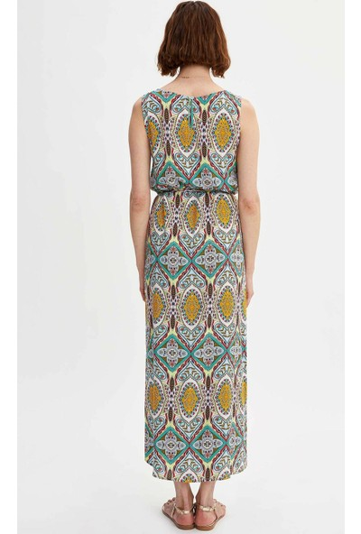 Defacto Kadın Desenli Kolsuz Uzun Elbise