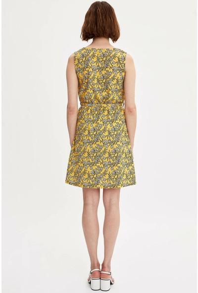 Defacto Kadın Beli Kuşaklı Desenli Elbise