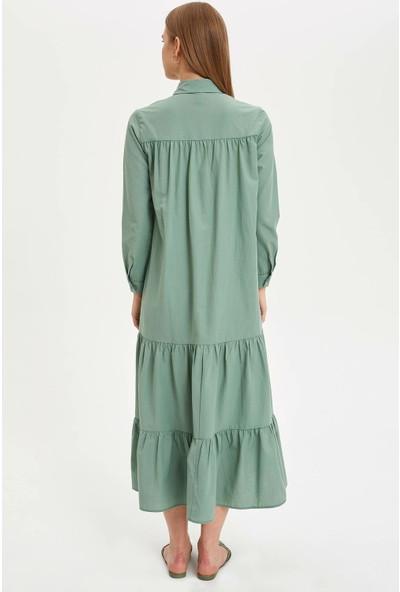 Defacto Kadın Düğmeli Relax Fit Uzun Elbise