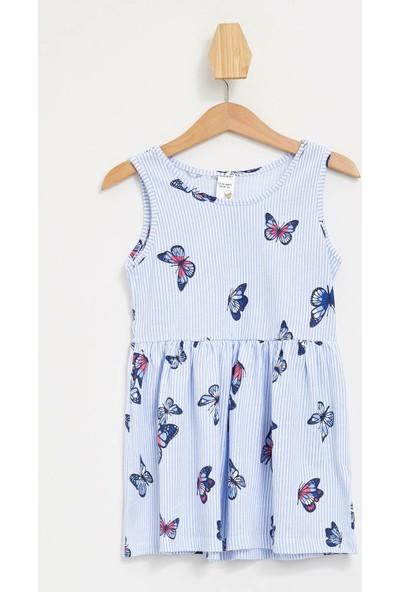Defacto Kız Bebek Kelebek Desenli Elbise