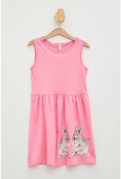 Defacto Kız Çocuk Tavşan Baskılı Kolsuz Elbise