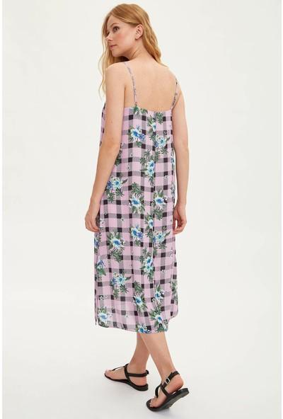 Defacto Kadın Desenli Askılı Uzun Elbise